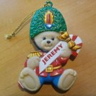 """Christmas Teddy Bear Jeremy Ornament 3"""" Plastic Soldier Fully Molded NLD 1998"""