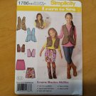 Simplicity 1786 Girls Vest Childs Skirt  Sz 3 4 5 6 Learn-to-Sew Pattern Uncut