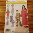 1570 SIMPLICITY sewing pattern Boys GIrls Nightgown Pajamas Robe Sz 3-6 Uncut