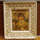 Florence Kroger Victorian Lady in Yellow Umbrella Original Frame pen Denise Vtg