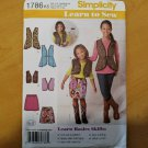 Simplicity 1786 Girl Vest Child Skirt Sz 7 8 10 12 14 Learn-to-Sew Pattern Uncut