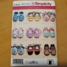 Sewing Pattern Simplicity 2491 Baby Shoes Sizes XS-S-M-L Booties Monkey Bee Bear