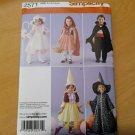 Simplicity 2571 Sewing Pattern Toddler Costumes Wizard Bo Peep Dracula Sz 1/2-4
