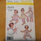 SIMPLICITY 1813 Vintage Baby Retro Style Sewing Pattern Pant Top Romper Sz XXS-L