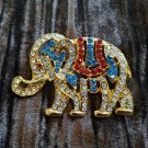 Rhinestones Brooch Pin Republican Elephant Red White & Blue Gold Tone Vintage