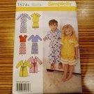 Simplicity Pattern 1574 CHILDS Pajamas Bath Robe Girls Boys Toddler Sz 6m 1 2 3