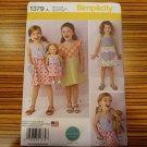 "Simplicity Pattern 1379 Girls Summer Dress  18"" Doll Twin Size 3-8 Modkid Studio"