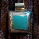 Sterling Silver 925 Turquoise Pendant  Slip Mexico Barrel Western Modern Vintage