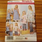 """1240 SIMPLICITY sewing pattern Girls Misses Lady's 18"""" Doll Apron SZ S-L Retired"""