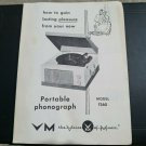 Photocopy Voice of Music Model 1260 Manual VM Instructions 9897-2 Record Player