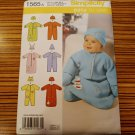 1565 SIMPLICITY sewing pattern Baby Infant Bunting Romper Hat SZ XXS-S NB-6M New