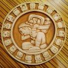 "Mayan Zodiac Astrological Calendar Burnt Clay Plaque by Renato Dorfman 4.5"" Vtg"