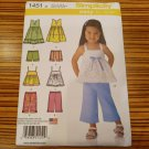 Simplicity Pattern Little Girl's Pants Tops Dresses Shorts 1451 Sizes 1/2 to 4