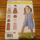 SIMPLICITY PATTERN 1453 GIRLS DRESS TOP PANTS HAT SHORTS SEWING SIZE 3-8 NEW