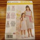 Simplicity Pattern 1211 Girls Dress in Two Lengths Size 3-6 High Waist New Uncut