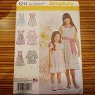 Simplicity Pattern 1211 Girls Dress Two Lengths Size 7-14 High Waist New Uncut