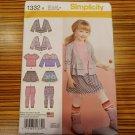 1332 Simplicity Pattern SZ 3-8 Child's Skirt Knit Leggings Top Cardigan Karen Z