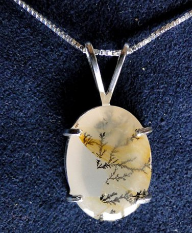 LACE AGATE and Sterling Silver Pendant Necklace with 18 inch Sterling Chain
