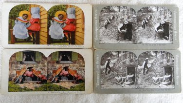 4 Stereoscope STEREOVIEW Cards of Black Face African Americans-Black Memorabilia