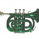 MERANO WD480GR B Flat Green Pocket Trumpet with Case