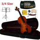 Rugeri 3/4 Size Violin+Case+Bow+2Sets String,2Bridges,Shoulder Rest,Mute,Rosin,Metro Tuner,Stand