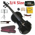 Rugeri 3/4 Size Black Violin+Case+Bow+2Sets String,2Bridges,Shoulder Rest,Mute,Rosin,Tuner,Stand
