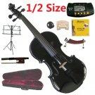 Rugeri 1/2 Size Black Violin+Case+Bow+2Sets String,2Bridges,Shoulder Rest,Mute,Rosin,Tuner,Stand