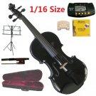 Rugeri 1/16 Size Black Violin+Case+Bow+2 Sets String,2 Bridges,Rosin,Metro Tuner,Music Stand