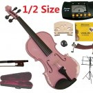 Merano 1/2 Size Pink Violin+Case+Bow+2Sets String,2Bridges,Shoulder Rest,Mute,Rosin,Tuner,Stand