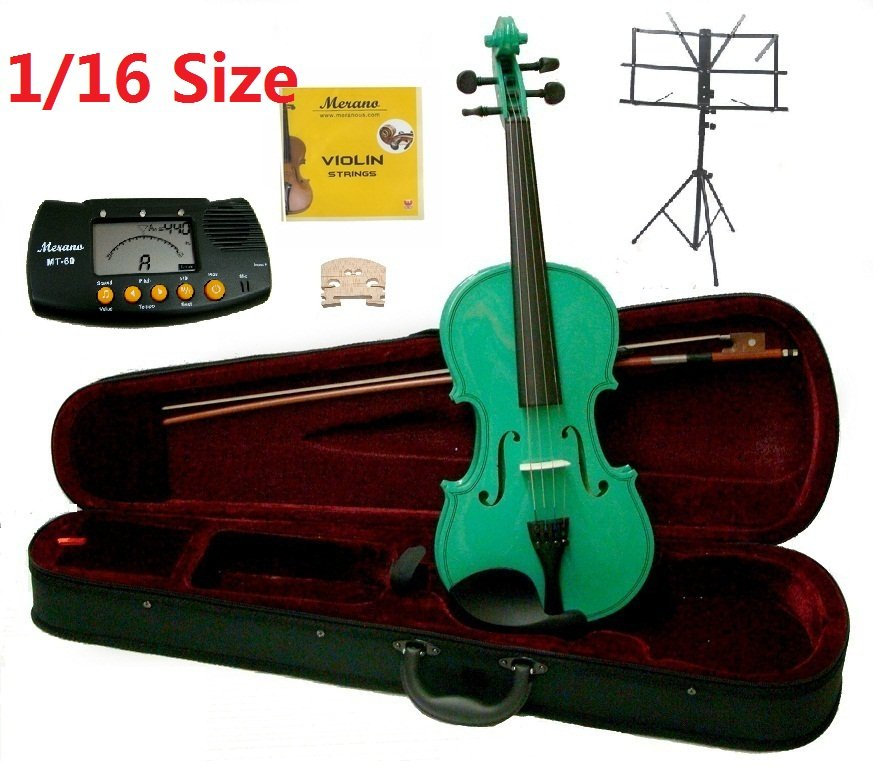 Rugeri 1/16 Size Green Violin+Case+Bow+2 Sets String,2 Bridges,Rosin,Metro Tuner,Music Stand