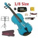 Rugeri 1/8 Size Blue Violin+Case+Bow+2Sets String,2Bridges,Shoulder Rest,Mute,Rosin,Tuner,Stand