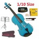 Rugeri 1/10 Size Blue Violin+Case+Bow+2 Sets String,2 Bridges,Rosin,Metro Tuner,Music Stand
