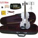 Rugeri 1/2 Size Silver Violin+Case+Bow+2Sets String,2Bridges,Shoulder Rest,Mute,Rosin,Tuner,Stand