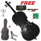 Rugeri 1/2 Size Black Cello+Bag+Bow+2 Sets String,Rosin,Cello Stand,Music Stand,Metro Tuner