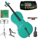 Rugeri 1/10 Size Green Cello+Bag+Bow+2 Sets String,Rosin,Cello Stand,Music Stand,Metro Tuner