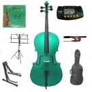 Rugeri 4/4 Size Green Cello+Bag+Bow+2 Sets String,Rosin,Cello Stand,Music Stand,Metro Tuner