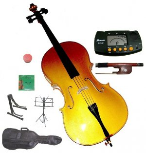 Rugeri 1/2 Size Gold Cello+Bag+Bow+2 Sets String,Rosin,Cello Stand,Music Stand,Metro Tuner