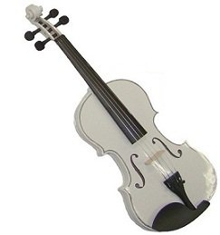 Rugeri MV400WT 1/10 Size Solid Wood Ebony Fitted Violin with Case and Bow ~ WHITE