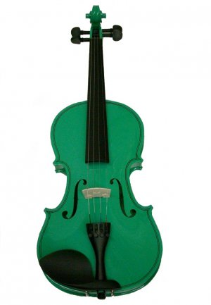 Rugeri MV400GR 1/2 Size Solid Wood Ebony Fitted Violin with Case and Bow ~ GREEN