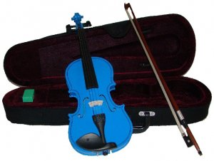 Rugeri MV400DBL 1/8 Size Solid Wood Ebony Fitted Violin with Case and Bow ~ BLUE