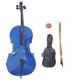 Merano 3/4 Size Blue Cello with Bag and Bow + Free Rosin