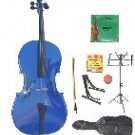 Merano 3/4 Size Blue Cello w/Bag,Bow+Rosin+2 Sets Strings+Tuner+Cello Stand+Music Stand
