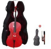 Merano 3/4  Size Red Cello with Hard Case + Soft Carrying Bag + Bow + Free Rosin