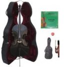 Merano 3/4 Size Black Cello with Hard Case + Soft Carrying Bag + Bow + 2 Sets of Strings + Rosin
