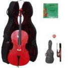 Merano 1/4 Size Red Cello with Hard Case + Soft Carrying Bag + Bow + 2 Sets of Strings + Rosin