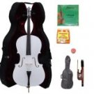 Merano 3/4 Size White Cello with Hard Case+Soft Carrying Bag+Bow+2 Sets Strings+Tuner+Rosin