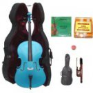 Merano 1/4 Size Blue Cello with Hard Case+Soft Carrying Bag+Bow+2 Sets Strings+Tuner+Rosin
