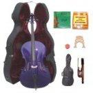 Merano 1/4 Size Purple Cello with Hard Case+Soft Bag+Bow+2 Sets Strings+2 Bridges+Tuner+Rosin