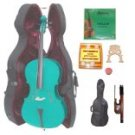 Merano 1/2 Size Green Cello with Hard Case+Soft Bag+Bow+2 Sets Strings+2 Bridges+Tuner+Rosin