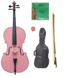 Merano 1/16 Size Pink Cello with Bag and Bow + 2 Sets of Strings + Rosin